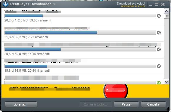 L'interfaccia di RealPlayer Downloader