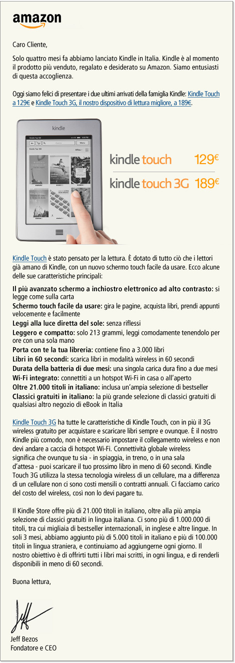 Kindle Touch in Italia