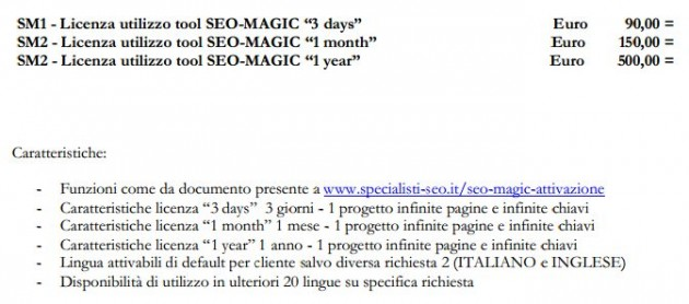 Seo Magic Prezzi (25/03/2013)