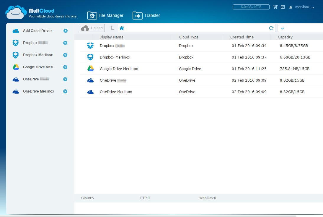 MultCloud: Trasferimenti file in cloud