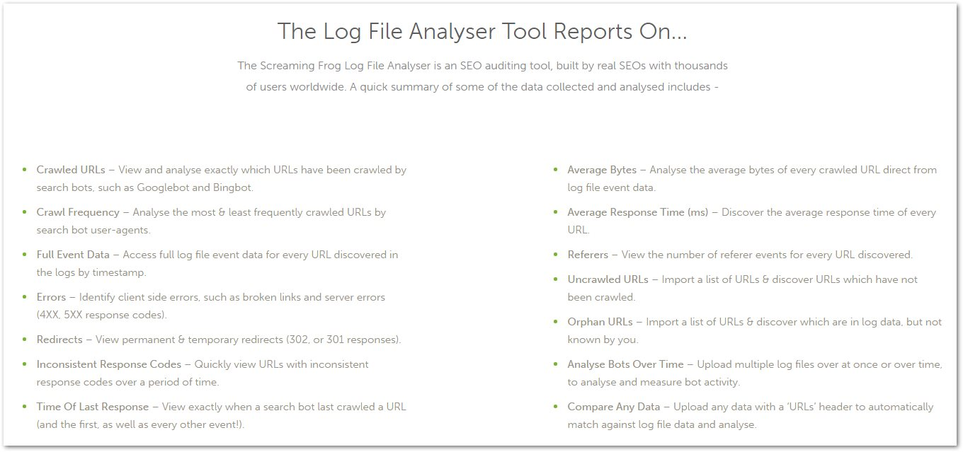 Cosa fa Screaming Frog Log Analyzer