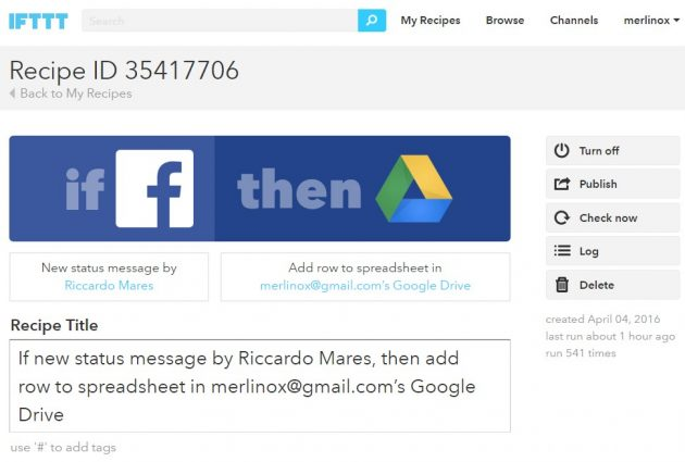 Facebook e IFTTT: Archivia i Post